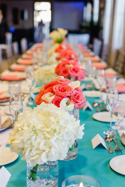 Teal and Coral Hydragena and Rose Wedding Centerpieces