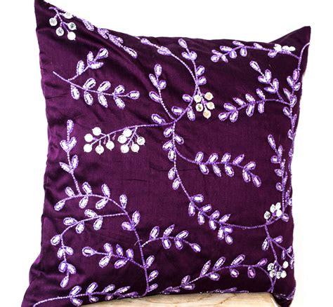 Bead Pillow by Radiant Orchid Throw Pillows Bead Sequin Detail Leaves