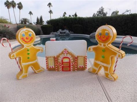 outdoor gingerbread decorations 3 pc set gingerbread house lighted mold