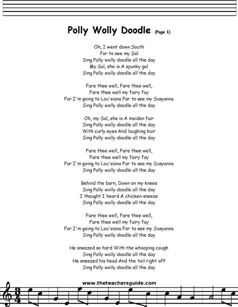 doodlebug lyrics polly wolly doodle lyrics printout midi and