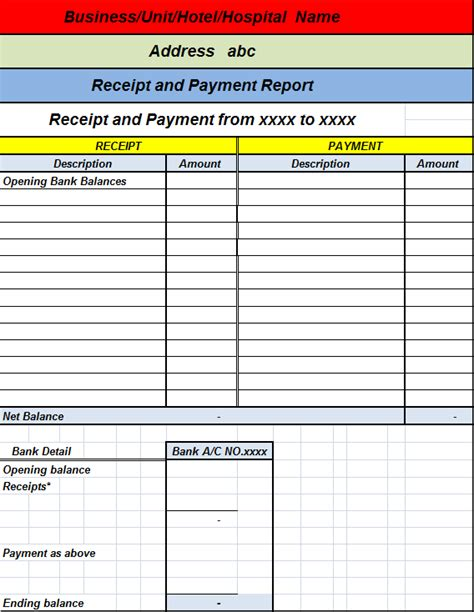 receipts and payments accounts template receipts and payments accounts template best free