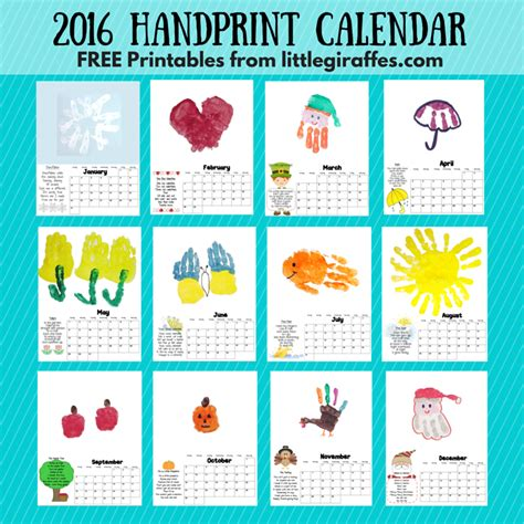 calendar photo themes ideas handprint calendar little giraffes teaching ideas a to