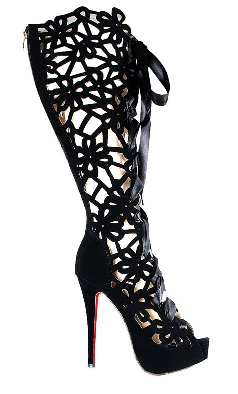 strappy lace up knee high boots swb80040