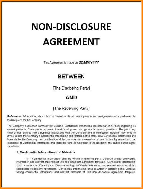 basic nda template 8 basic non disclosure agreement inventory count sheet