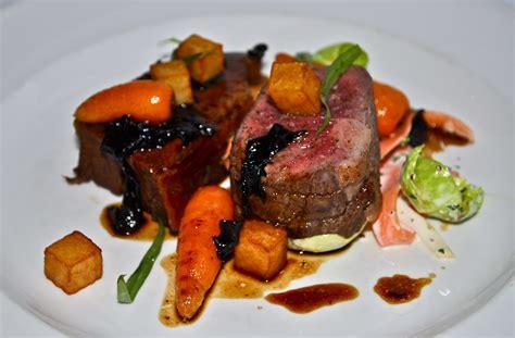 cuisine a la carte pan fried canadian rib eye malt braised beef breast