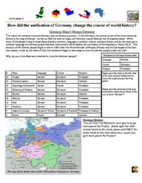 The Unification Of Germany Worksheet Answers