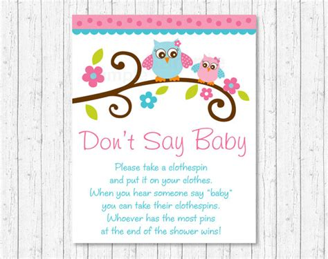 printable owl games don t say baby game owl baby shower pink owl