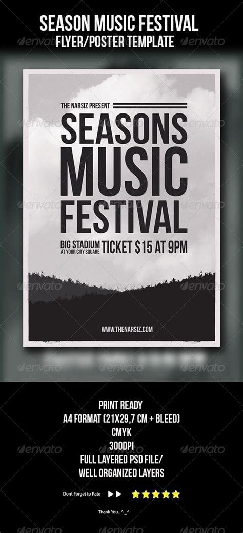 season music festival flyer template seasons fonts and