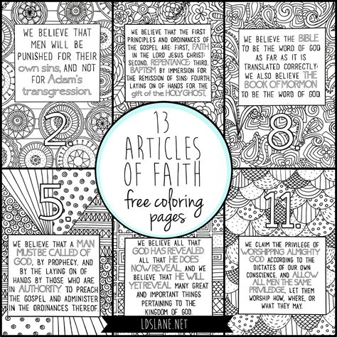 coloring books for adults article 13 articles of faith coloring pages