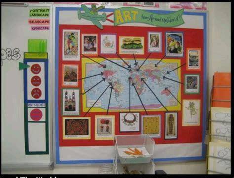 5 themes of geography bulletin board art around the world bulletin board idea but use kids