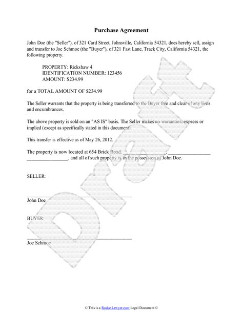 Purchase Agreement Template Free Purchase Agreement Standard Purchase Agreement Template