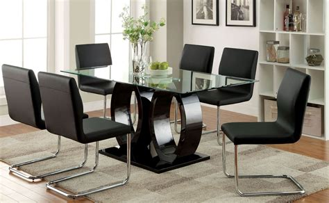 9 Piece Dining Room Sets by Lodia I Black Glass Top Rectangular Pedestal Dining Room