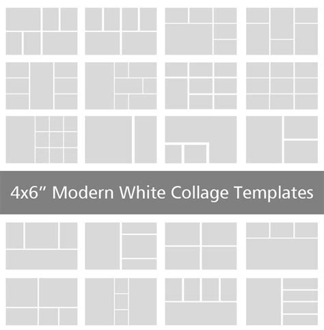 4x6 modern white collage templates discovery center store