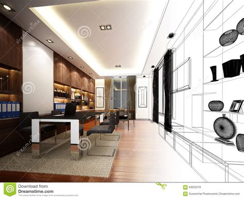 sketch design of interior working room wire frame royalty
