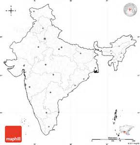 Blank Map Of India Physical by Blank Simple Map Of India Cropped Outside No Labels