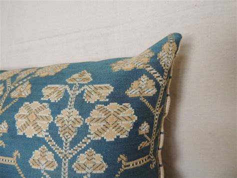 arts and crafts blue textile bolster pillow at 1stdibs