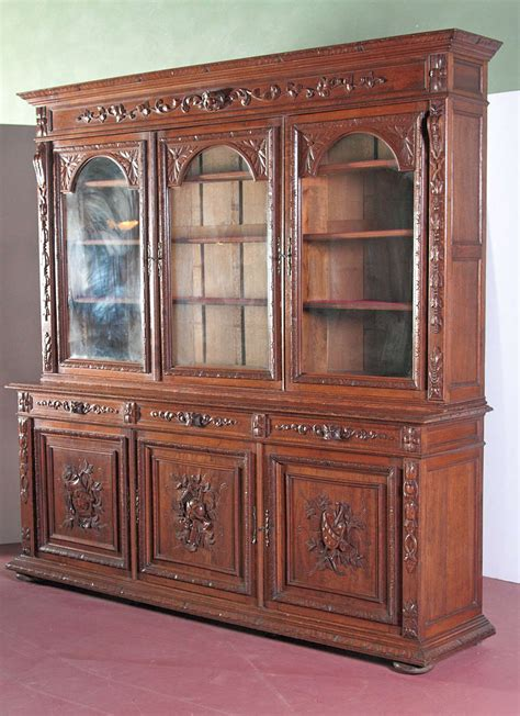 French Antique Carved Bookcase Bibliotheque With Glass Vintage Bookcase With Glass Doors