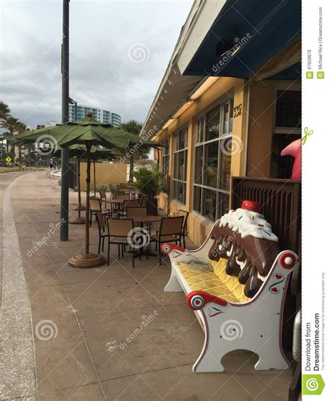 ice cream bench cafe outdoor seating with ice cream bench stock photo