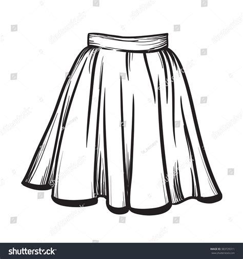 Black And White Line Skirt skirt vector illustration black on white line