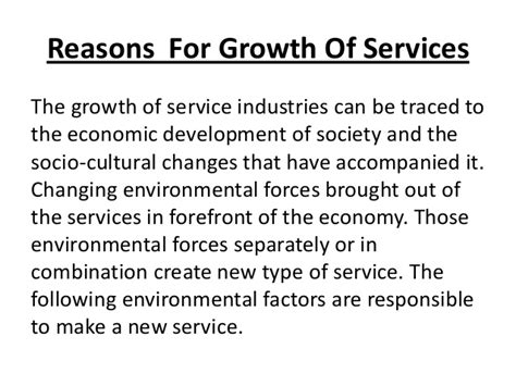 reasons for a service reasons for growth of service sector