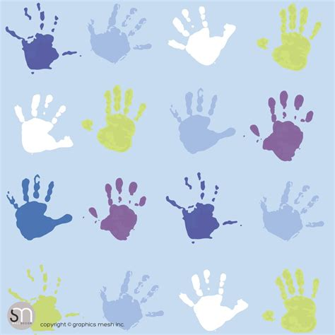green peel and stick wallpaper paint hand prints in blue and green peel stick