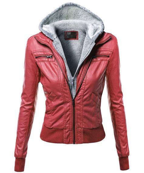 L7276 Jfashion Womens Hoodie Jacket With Zippe Kode Pl7276 5 s warm faux leather sherpa lining hooded biker moto