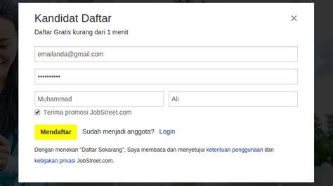 Cara Membuat Email Di Jobstreet   cara daftar akun jobstreet indonesia tutorial pendaftaran