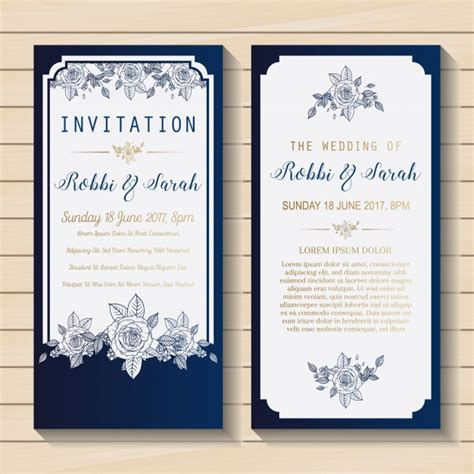 Wedding Invitations And White by Blue And White Wedding Invitation Vector Free