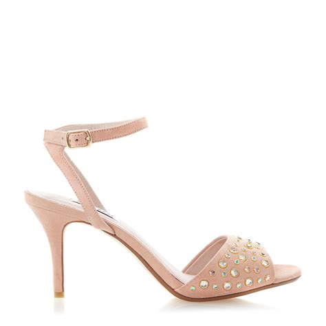 beige heeled sandals dune hepburnn jewelled mid heel sandals in beige lyst