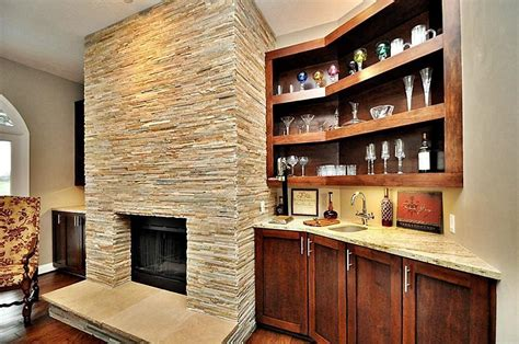 Fireplace Bar by Bar With Fireplace Hardwood Floors In