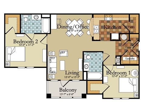 Apartment Floor Plans 2 Bedroom ordinary 1 bedroom garage apartment floor plans #1: sweet-1