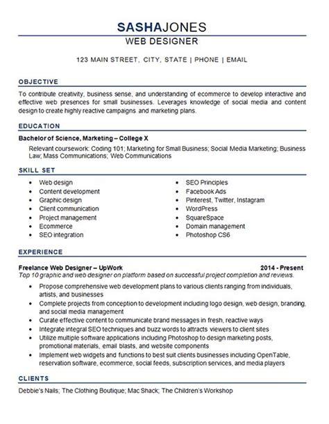 ecommerce resume sle best 25 web designer resume ideas on