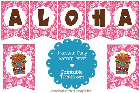 free printable luau birthday banner printable pink hawaiian party banner from printabletreats