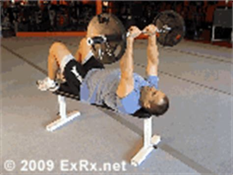 exrx grip bench barbell lying triceps extension
