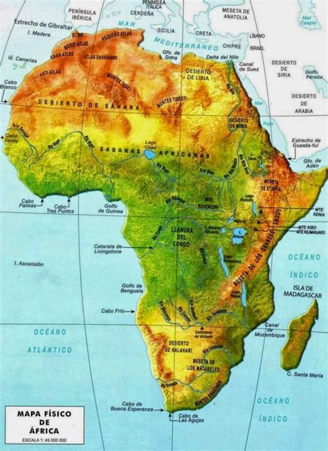 africa map features africa physical map free printable maps