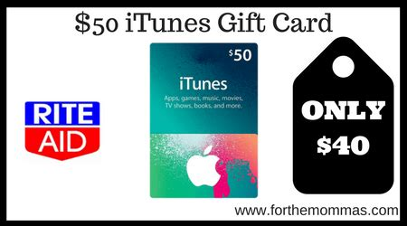 Rite Aid Amazon Gift Card - rite aid 50 itunes gift card only 40 starting 7 16 ftm