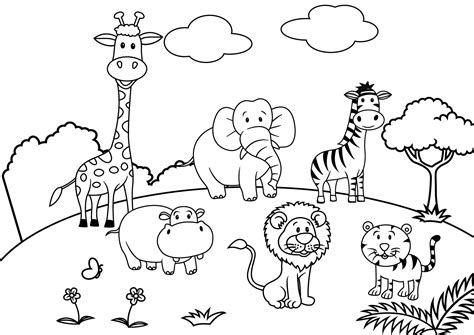 set of cartoon animal paradise scene coloring page