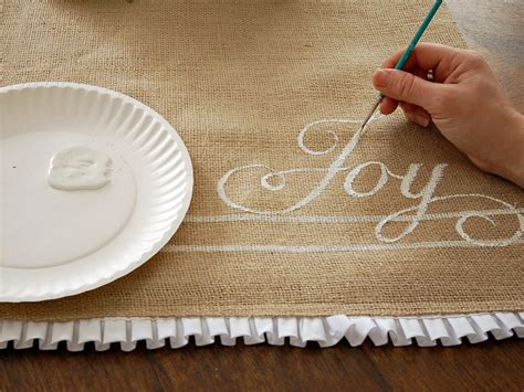 how to make a table runner how to make a hand painted burlap table runner hgtv