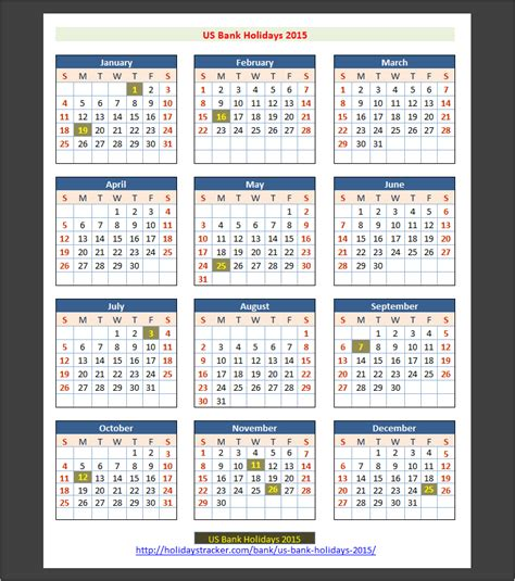 bank holidays 2015 us bank holidays 2015 holidays tracker