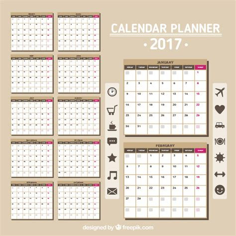 Calendario Por Meses 2017 Calendario 2017 En Color Marr 243 N Descargar Vectores Gratis