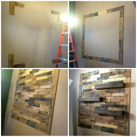 pallet wall with floating shelves home design garden