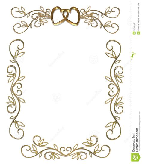 wedding or party invitation gold border royalty free stock
