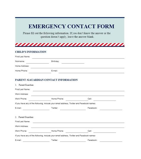 emergency contact form template for child emergency contact form for ideal vistalist co
