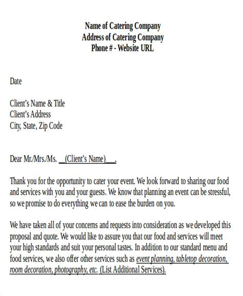 Letter For Catering Business Sle Catering Letter 8 Exles In Pdf Word