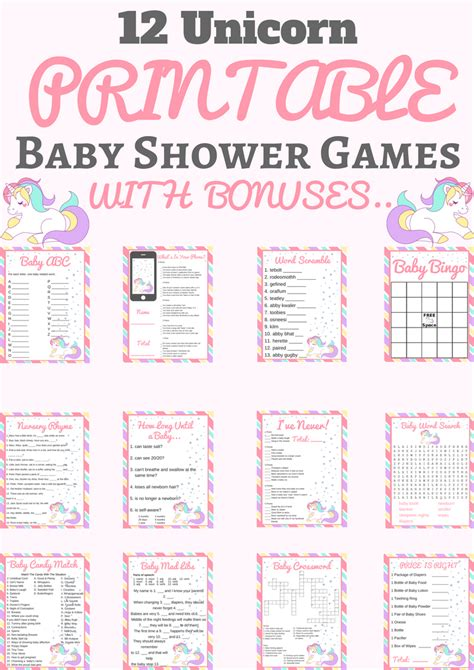 unicorn baby shower printable game package baby shower