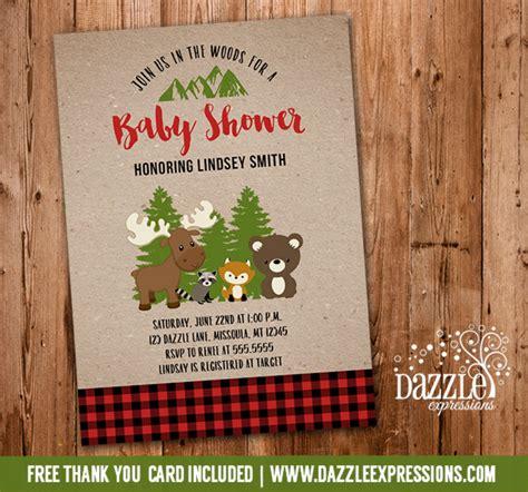 Printable Buffalo Plaid Woodland Baby Shower Invitation Lumberjack Forest Animals Thank Buffalo Plaid Invitation Template
