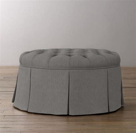 round tufted ottoman with skirt rh baby child s classic round tufted upholstered ottoman