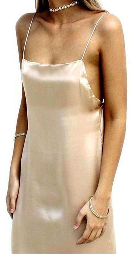 Plain Slipdress pair a beautiful chagne colored slip dress with a