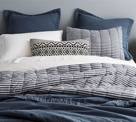 stitch bedding triangle stitch washed cotton quilt and sham pottery barn