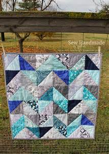 Blue And Gray Quilt Sew Handmade Blue Gray Chevrons Quilt